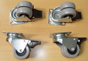 4er Set Rollen mit Bremse –  Tragkraft 400 kg- auch für Rasen geeignet - 6