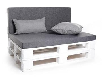 Palettenkissen, Matratzenkissen, Sitzbankauflage - verschiedene Sets wählbar - grau-3