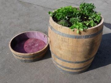 2er Set altes Eichen Weinfass als Hochbeet-6
