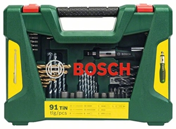 Bosch DIY 91 teilig - V-Line Titanium-Bohrer und Bit-Set + Ratschen Schraubendreher & Magnetstab-4