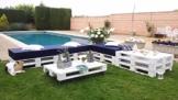 Paletten Couch - Lounge - Sitzgruppe für Garten oder Terrasse in weiß-2
