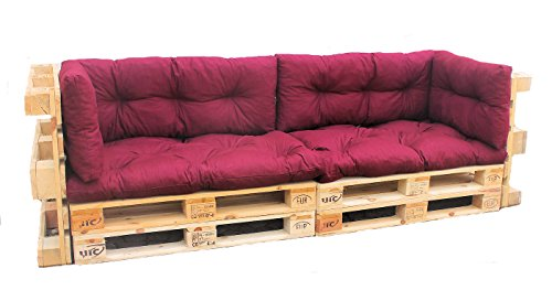 palettenkissen 6 teiliges set sofa oder couch aus europaletten weinrot. Black Bedroom Furniture Sets. Home Design Ideas