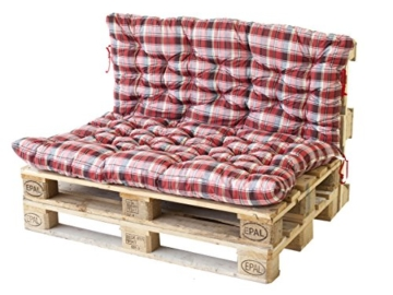 Palettenkissen Auflage mit Rückenteil in Karo Rot – Palettenmöbel -