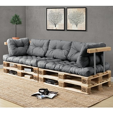 En.Casa Palettenkissen Set - 7-teilig - Sitzpolster + Rückenkissen - Paletten-Sofa Polster - Indoor & Outdoor-4