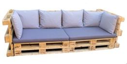 Paletten Sofa Polster Set - 8-teilig grau - blau - Palettenkissen & Palettenpolster-2