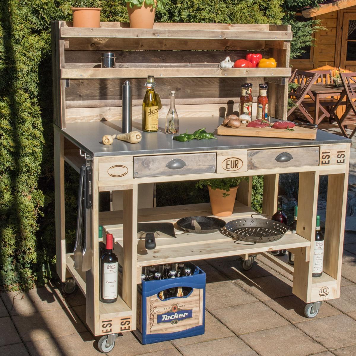 Grill Tisch aus Europaletten-Palettenmöbel Grilltisch-Küche Outdoor