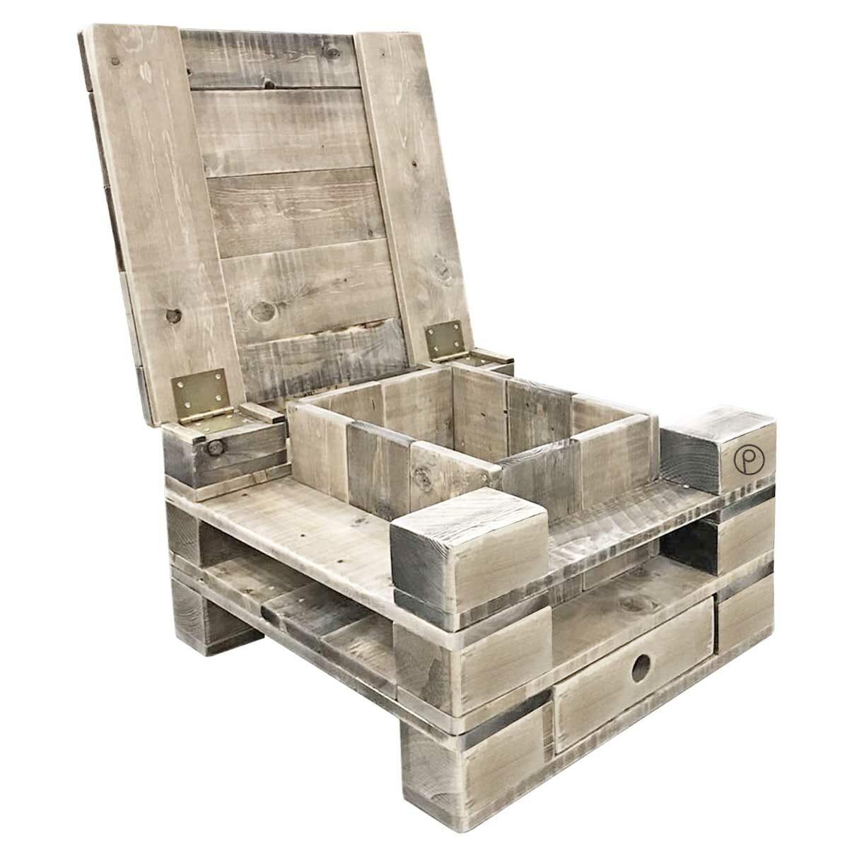 quadratischer paletten couchtisch mit deckel palettenm bel shop. Black Bedroom Furniture Sets. Home Design Ideas