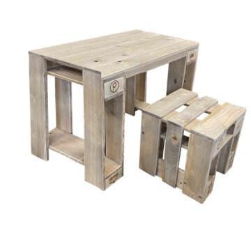 Garnitur Tisch Hocker aus Europaletten Set Palettenmoebel