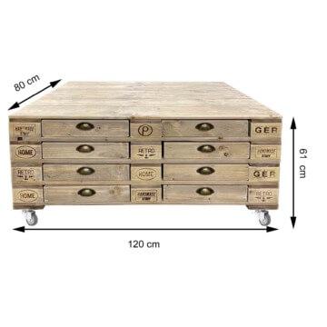 Grosser Palettentisch mit Schubladen Europaletten Palettenmoebel
