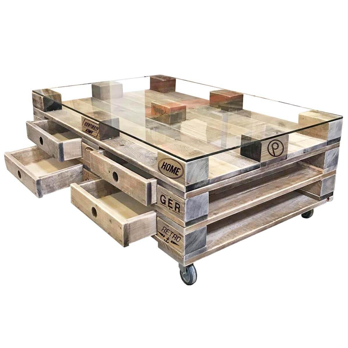 ᐅᐅ Grosser Couch Palettentisch Mit Glasplatte Palettenmobel Shop