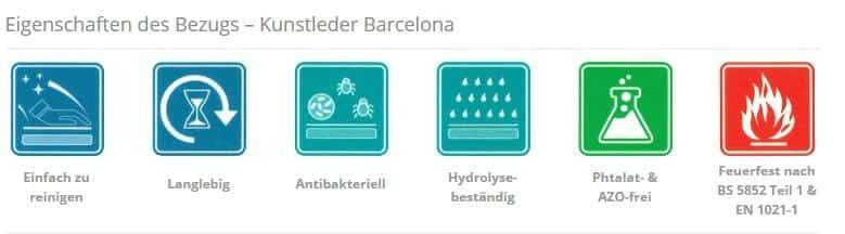 Eigenschaften Kunstleder Bezug Barcelona