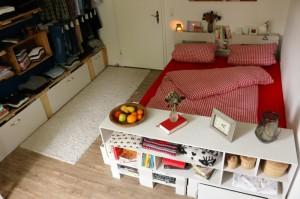 Bett aus Europaletten- Möbelbau Ideen im Schlafzimmer