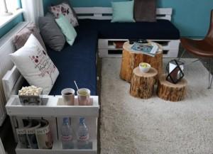 Palettensofa-Möbel aus Europaletten mit Auflage und Polster